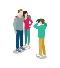 Man takes pictures of young couple. Summertime vacation, active recreation, hiking and adventures vector illustration.