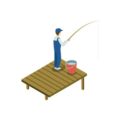 Man fishing isometric 3D element. Countryside relax isolated vector illustration.