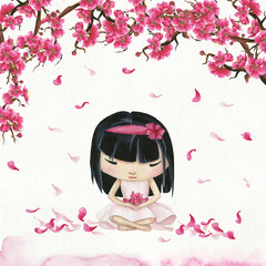 Hand drawn watercolor meditating japanese girl and branch with sakura flowers and flying petals.  Ready card/poster.