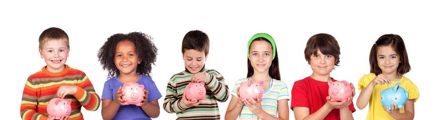 Happy children with piggy-banks