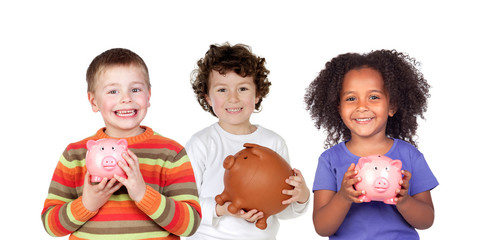 Three happy children with piggy-banks