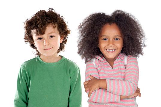 Happy couple of children