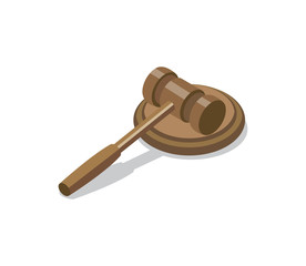 Wooden judge gavel and soundboard isometric 3D element. Law and judgment legal justice vector illustration.