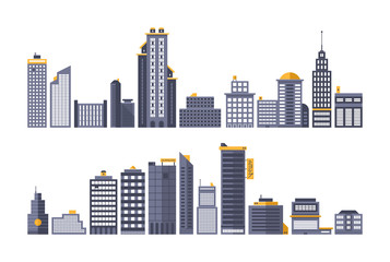Set of modern city buildings. Flat vector style.