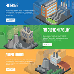 Heavy industry air pollution flyers. Chemical factory or production facility with smoke stacks and filtering system. Nature environmental damage, atmosphere harmful emissions vector illustration.