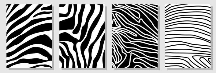 Set of A4 covers with expressive zebra pattern. Template for cards, banners, posters.