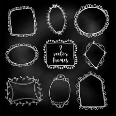 Set of vector abstract doodle frames. White chalk on a blackboard