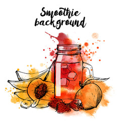 Watercolor Vector set of smoothie