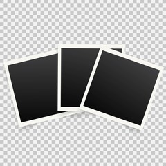 Set of template photo frames with shadow on transparent background. Vector illustration for your photos or memories. Scrapbook design.