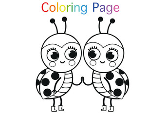 Cartoon Ladybugs For Coloring Page Activity. (Vector illustration)
