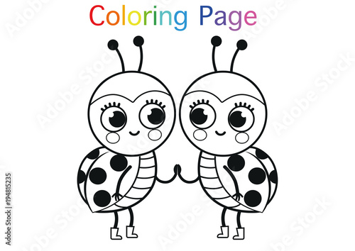 cartoon ladybugs for coloring page activity vector illustration
