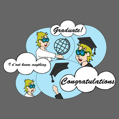 Congratulations graduate class of COMICS. Education graduation hat throw up. Class of card. Manwith globe earth get an education