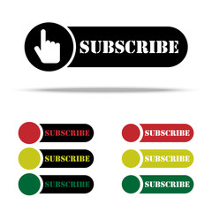 Subscribe sign icon. Membership symbol. Website navigation. Classic flat icon. Colored circles. Vector web buttons, elements for website design. Stylized traffic light.
