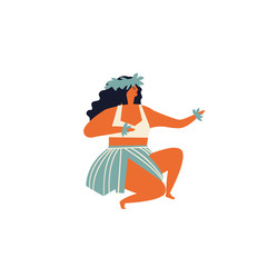 Men dancing Hula hawaiian dance illustration