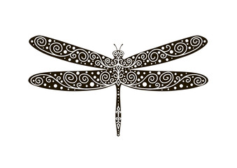 Wildlife, flying dragonfly, pattern