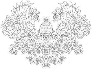 Ornate Easter egg and two firebirds among decorative leaves, flowers and berries, a black and white vector illustration for a coloring book