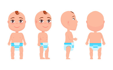 Set of Boy Infant from Front Back Side View Vector