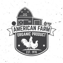 American Farm Badge or Label. Vector illustration.