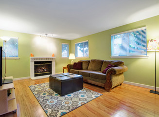 Green family room with fireplace, sofa with ottoman