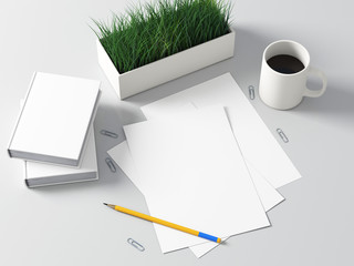 Paper clean mockup with pencil on table 3d rendering