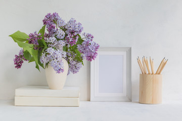 Wall Murals Lilac Mockup with a white frame and lilac branches