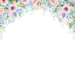 Vector background with pink, blue and purple flowers.