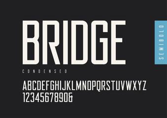Condensed semibold retro sans serif. Vector typefaces, uppercase