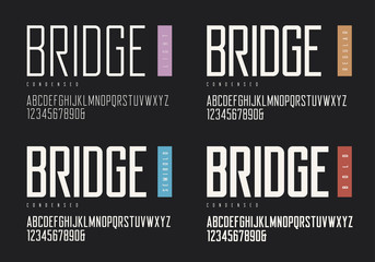 Condensed light regular semibold bold sans serif. Vector typefac