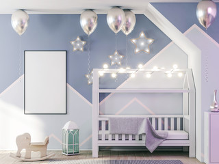 Poster frame mockup in child bedroom, holiday 3d rendering