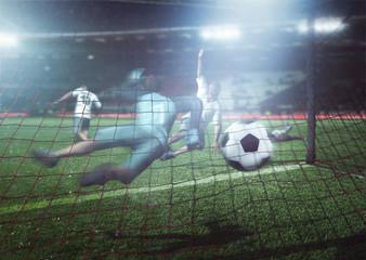 Spieler schießt Tor beim Fußball