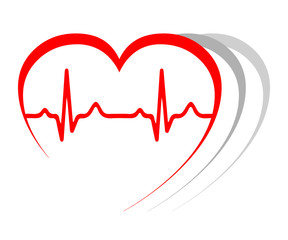 Heart pulse, one line, cardiogram, heartbeat - stock vector