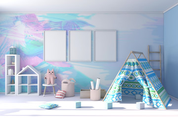 Child stylish modern room with three poster frame mockup 3d rendering