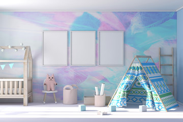Three poster frame mockup in child room 3d rendering