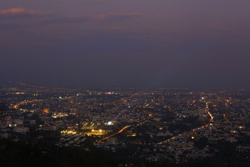 Chiang Mai city view at evening with sunbeam area highlight background, Thailand concept