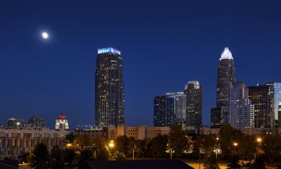 Charlotte, North Carolina Skyline and Full Moon