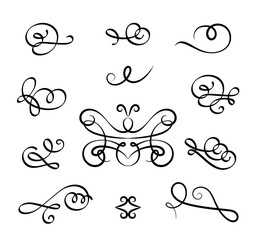 Vintage set of calligraphic flourishes and curlicues