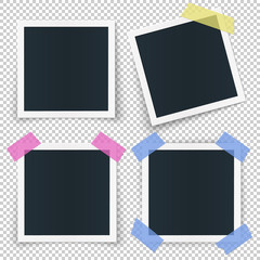 Set of 4 photo frames, stickied with colored transparent tape pieces, isolated vector illustration on transparent background.