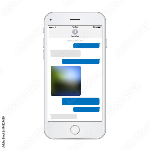 Realistic phone template with chat messenger on screen. Vector ...
