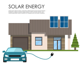 House with solar panels and an electric car. Solar energy. Renewable energy.