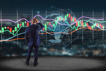 Businessman in front of a wall with a 3d render Stock exchange trading data information display on a futuristic interface