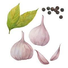 garlic, bay leaf, black pepper