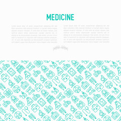 Medicine concept with thin line icons: doctor, ambulance, stethoscope, microscope, thermometer, hospital, z-ray image, MRI scanner, tonometer. Modern vector illustration for medical survey, report.