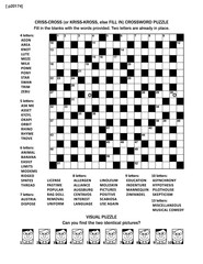 Puzzle page with two games: 19x19 fill-in (or criss-cross, else kriss-kross) crossword puzzle and visual puzzle with whimsical faces. Black and white, A4 or letter sized.