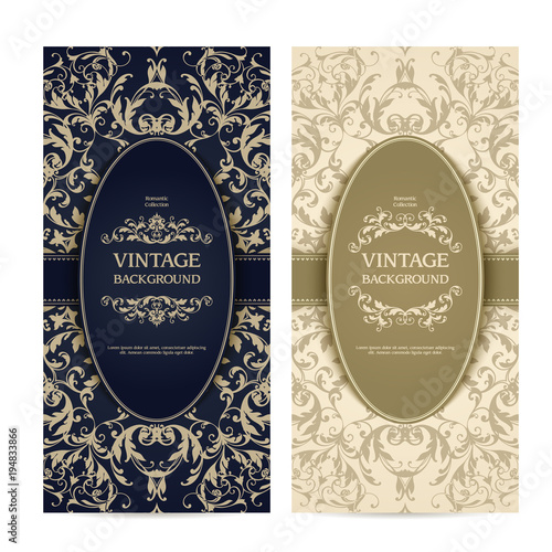 Vintage Template Set With Ornamental Frames And Patterned
