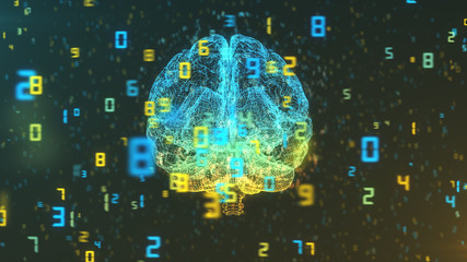 Digital computer brain 3D render floating in front view with numerical information background illustrating the concepts of Big Data and artificial intelligence
