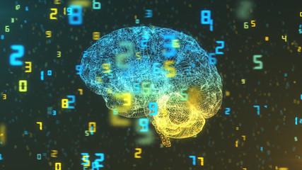 Digital computer brain 3D render floating in left profile view with numerical information background illustrating the concepts of Big Data and artificial intelligence
