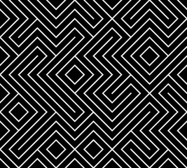 Geometric seamless pattern background. Simple graphic print. Vector repeating line texture. Modern swatch. Minimalistic shapes. Stylish monochrome trellis. Square grid. Trendy hipster sacred geometry.