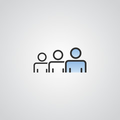 people vector icon . person group and business crowd symbol . blue sky gradient color