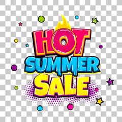 Hot summer sale comic text pop art advertise. Offer discount price comics book poster phrase. Vector colored halftone illustration. Colorful wow market greeting banner graphic. Transparent background.