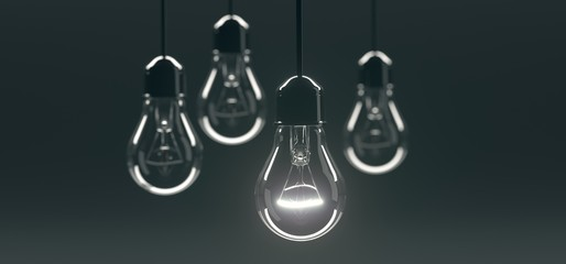 3D Rendering Of Bunch Hanging Classic Glass Light Bulbs With One Of Them Lighted On Dark Background
